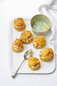 Curry gougeres filled with shrimps and cream cheese