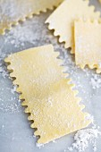Fresh egg pasta shapes on a floured marble surface