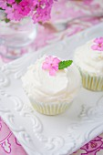 Zitronen-Cupcakes mit Buttercreme und Blütendeko