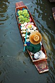 A floating market stall in Bangkok