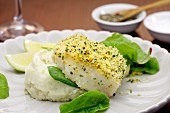 Kingklip fillet (South African cusk eel) with a lemon and herb crust on a bed of celery puree and spinach salad