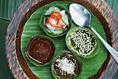 Paprika-Gurken-Salat mit Essig, würzige Pflaumensauce und Sesam-Öl