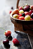 Fresh fruit and berries in a basket