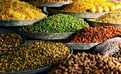 Nuts and legumes on an Indian market stall