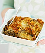 Chicken and aubergine bake with a crumb crust