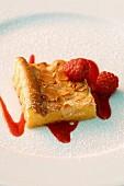 A semolina slice with raspberries