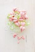 Pink meringue hearts