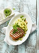 Grilled tuna fish with potato and avocado purée