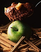 Mousse au chocolat with cinnamon and an apple