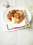Pork saltimbocca with a lentil medley