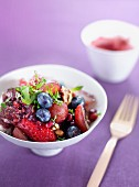 Fresh berry salad with nuts