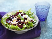 Beetroot salad with sheep's cheese and lemon zest