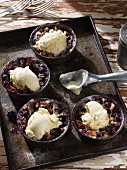 Blueberry clafoutis with vanilla ice cream