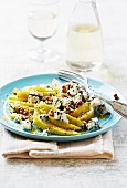 Pear salad with blue cheese, walnuts and lemon zest