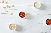 Four different gnocchi sauces