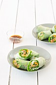 Spring rolls with smoked salmon and vegetables