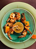 Fried prawns with a peri-peri sauce