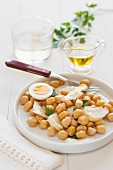 Stockfish salad with chickpeas and hard-boiled egg