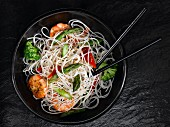 Rice noodles with prawns and vegetables (Asia)