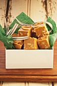 Butterscotch fudge as a gift, England