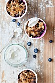 Mini blueberry crumbles with yogurt