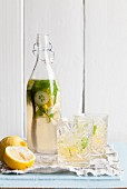 Homemade lemonade with cucumber, lemon and mint
