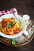 Fusilli al peperone (pasta with peppers, Italy)
