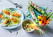 ADHD food: a plate of raw vegetables, cucumber boats and crudités