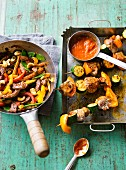 Beef stir fry and meat and vegetable skewers