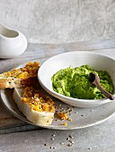 Pea cream and carrot spread