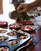 Mini pepper and goat's Camembert tarts