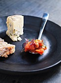 Blue cheese with tomato confit