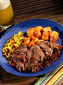Roast beef with potatoes and spicy corn salsa (Mexico)