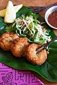 Fish balls with a salad and a dip