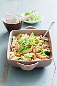 Oven-roasted Brussels sprouts and beans
