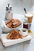 Soaked waffle slices