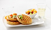 Waffles with fresh fruit and cream