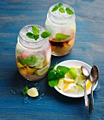 Home-made lemonade with fruit, ice cubes and lemon balm