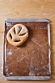 Fougasse on a baking tray