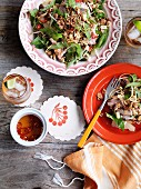 Grapefruit, banana flowers and roast pork salad
