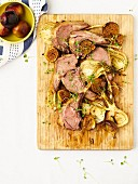 Saddle of lamb with roasted fennel and figs