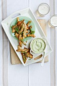 Beer-battered green asparagus with avocado mayonnaise