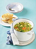Vegetable soup with pearl barley and white beans