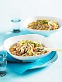 Spaghetti mit Rindfleisch, Pilzen und Sahnesauce