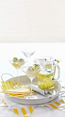 Lemons Spiders (lemon sorbet with pineapple in sparkling wine)