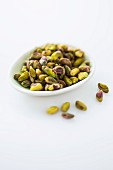 A bowl of pistachio nuts