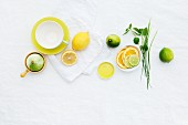 A teacup, lemons and limes