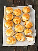Freshly baked bread rolls on parchment paper
