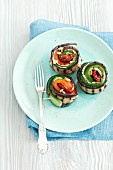 Grilled courgettes and aubergine roles with peppers and cream cheese
