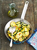 Fried courgettes with chillis